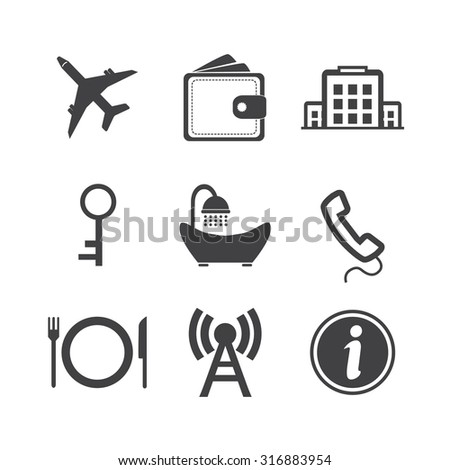 Hotel icons set on white background. Vector - stock vector