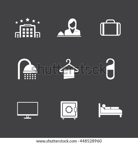 Hotel icons set,White icons on black background - stock vector