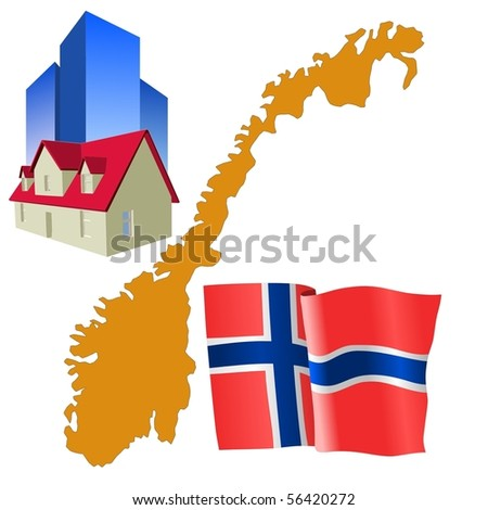 hotel in Norway - stock vector
