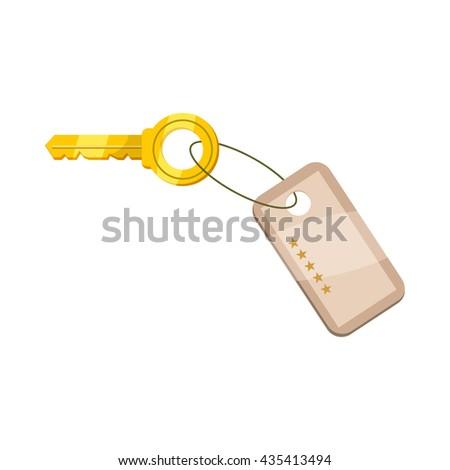 Hotel key icon, cartoon style - stock vector