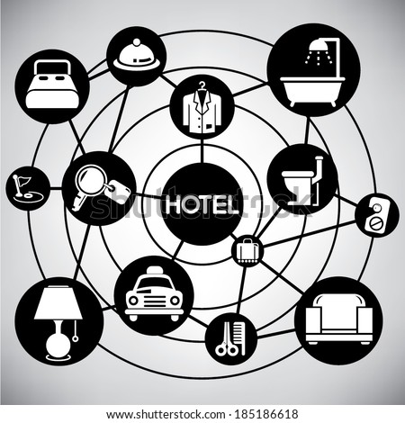 hotel management network, info graphic - stock vector