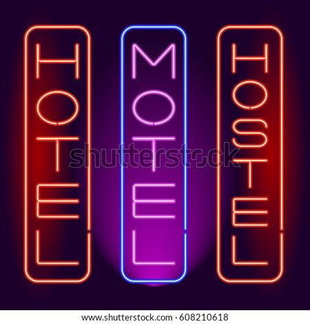 HOTEL MOTEL HOSTEL Neon Signboard Vertical Inscription Vector Illustration