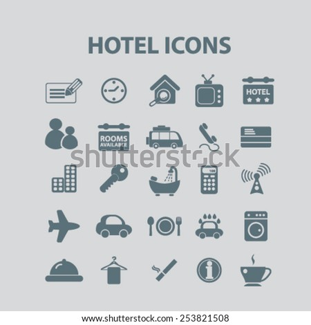 hotel, motel, room service, apartment isolated flat icons, signs, symbols illustrations, images, silhouettes on background, vector - stock vector