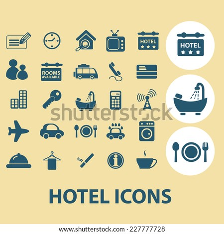 hotel, motel, services icons, signs, illustrations set, vector - stock vector