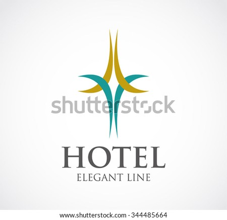 Hotel of curve decoration abstract vector and logo design or template elegant line business icon of company identity symbol concept - stock vector