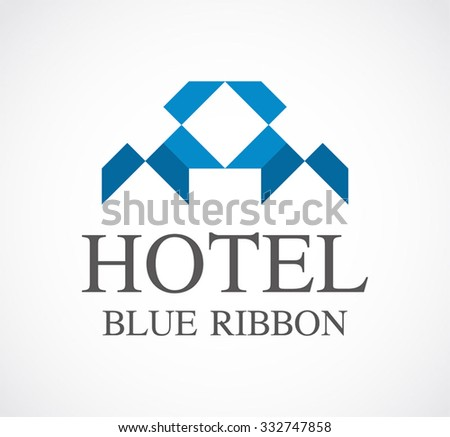 Hotel of geometric ribbon abstract vector and logo design or template property business icon of company identity symbol concept - stock vector