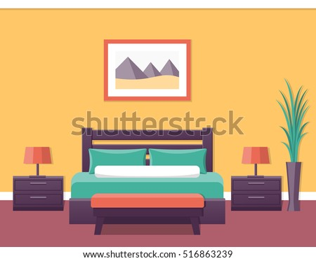 Hotel room flat interior bedroom house stock vector for Room design vector
