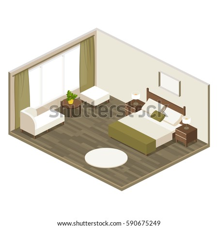 Hotel room isometric view large double stock vector for Furniture templates for room design