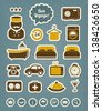 Hotel room service and vacation icons set - stock vector