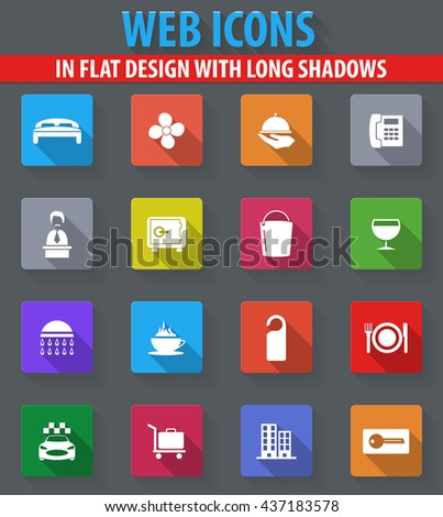 Hotel room web icons in flat design with long shadows