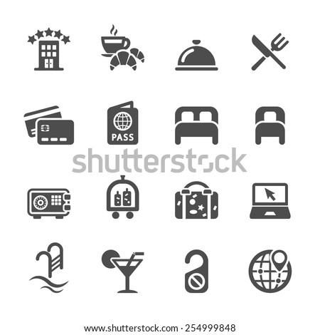 hotel service icon set, vector eps10. - stock vector