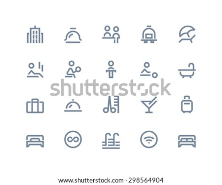Hotel service icons. Line series - stock vector