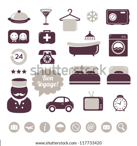 Hotel service icons set - stock vector