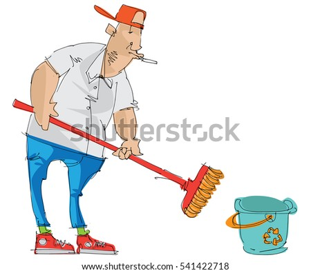 Hotel service staff is cleaning floor with mop and bucket. Cartoon