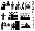 Hotel Services Receptionist Bellboy Housekeeper Worker Customer Visitor Stick Figure Pictogram Icon - stock