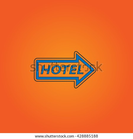 Hotel signboard vector. Blue flat icon with black stroke on orange background. Collection concept vector pictogram for infographic project and logo - stock vector