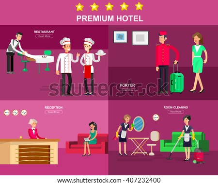 Hotel staff and service, Hotel reception, Hotel Room cleaning and Hotel restaurant, detailed character porter, chambermaid, chief cooker, cool flat tourism Hotel elements - stock vector