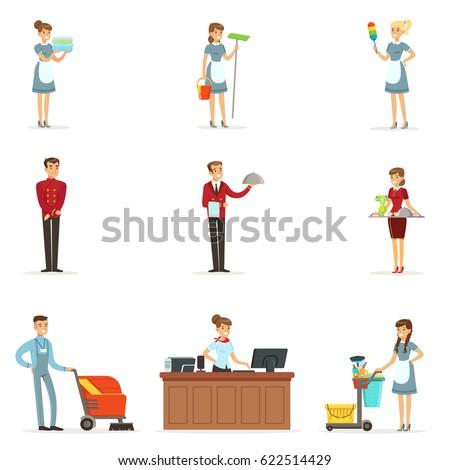 Hotel Staff Set For Label Design Colorful Cartoon Detailed Illustrations