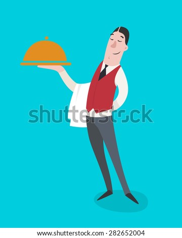 Hotel staff - Waiter with a tray of food. Flat design. Vector illustration. - stock vector