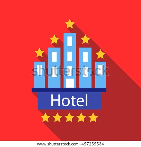 Hotel 5 stars icon in flat style with long shadow. Temporary residence symbol - stock vector