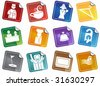 Hotel Sticker  Icon Set : Spa and resort themed buttons. - stock vector