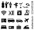 Hotel symbols icon set in black - stock photo