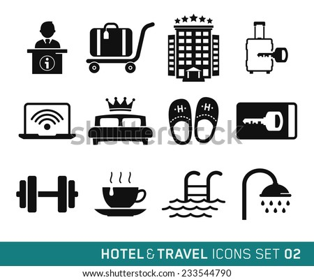 Hotel & Travel icons set // 02 - stock vector
