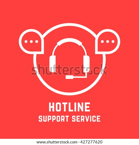 hotline support service mark. concept of ask helpline, social network, feedback, sale, webinar, chat answer, technician experience. flat style trend modern design vector illustration on red background - stock vector