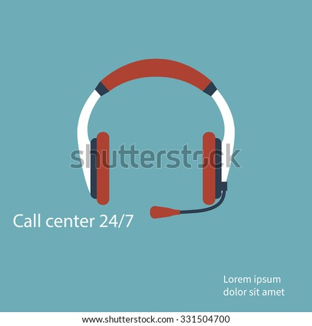 hotline support service with headphones. Support and help around the clock . Flat design. Vector illustration - stock vector