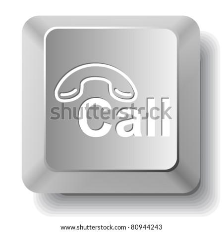 Hotline. Vector computer key. - stock vector