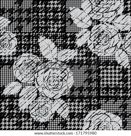 Hounds-tooth seamless pattern with roses - stock vector