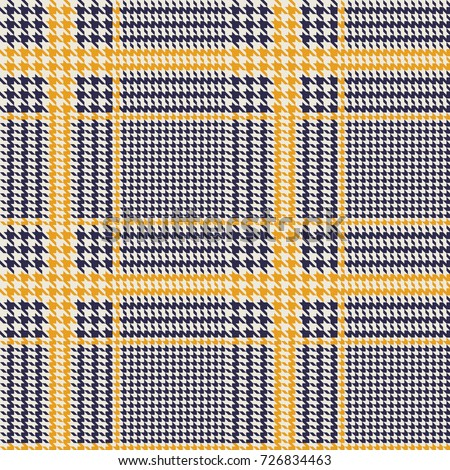 Hounds-tooth seamless vector pattern. Geometric print in navy blue and dull yellow color .  Classical English background Glen plaid (Glenurquhart check) for fashion design.