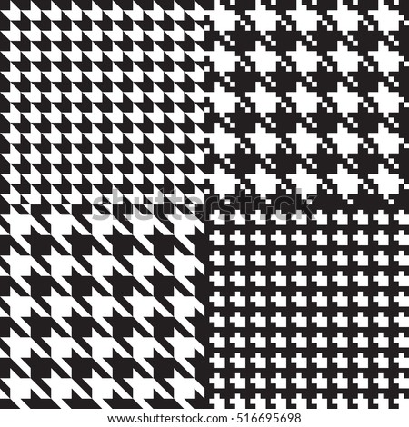 Houndstooth classic black and white seamless patterns set