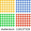 Houndstooth seamless pattern, four colors set, vector - stock photo