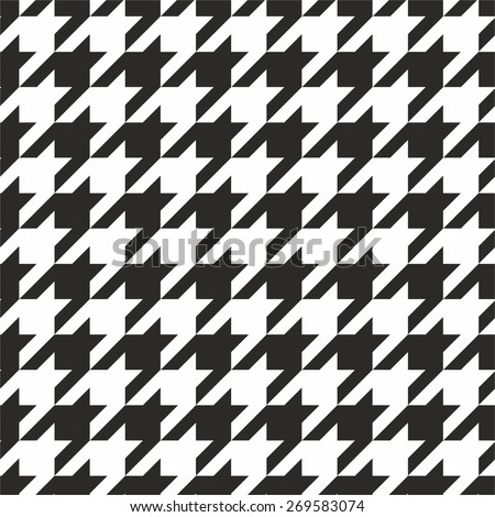 Houndstooth tile black and white vector pattern or seamless background wallpaper - stock vector