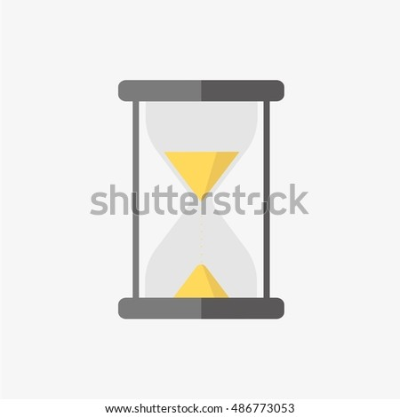 Hour glass, sand clock, time glass. Flat icon vector illustration
