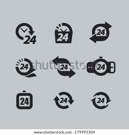 Hour icons - stock vector