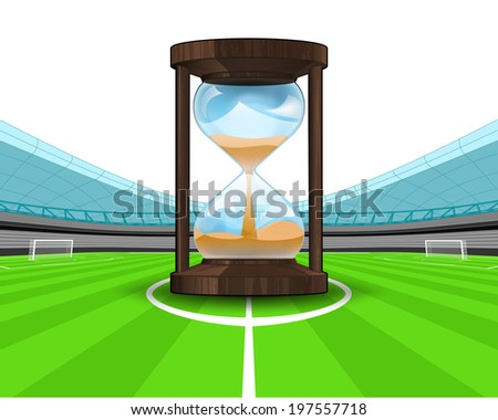 hourglass countdown in the midfield of football stadium vector illustration