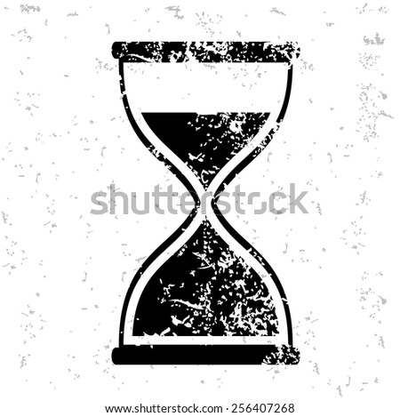 Hourglass design on old paper,grunge vector