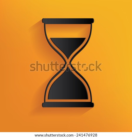 Hourglass design on yellow background, clean vector - stock vector