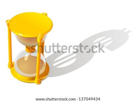 Hourglass. Dollar shadow - stock vector