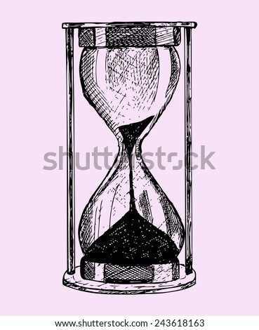 hourglass, doodle style,sketch illustration isolated on pink background