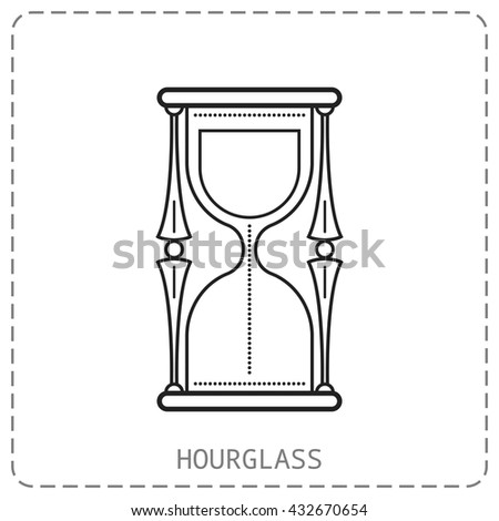 Hourglass. Flat linear icon isolated on white background. Vector