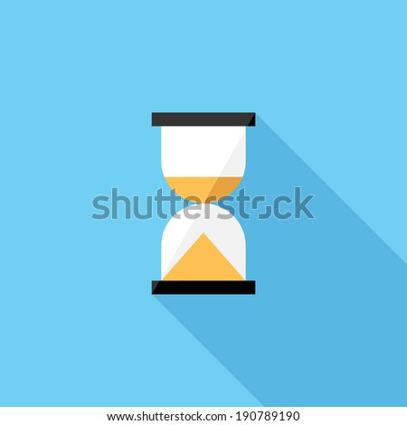 Hourglass icon. Flat design style modern vector illustration. Isolated on stylish color background. Flat long shadow icon. Elements in flat design. - stock vector