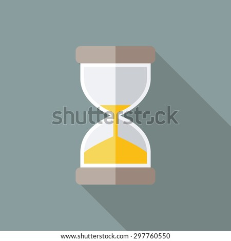 Hourglass Icon. Flat Vector Icon With Long Shadow Design Collection. - stock vector