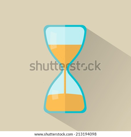 Hourglass icon in flat style with long shadow, vector illustration