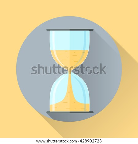 Hourglass icon in flat style with shadow. Countdown. Vector illustration.