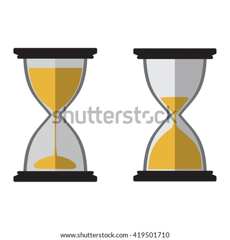Hourglass icon set black with sand vector illustration - stock vector
