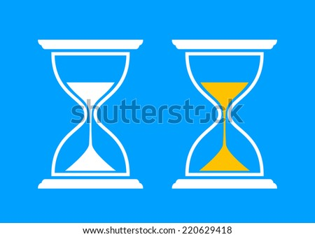 Hourglass icons on blue background - stock vector