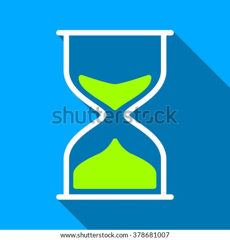 Hourglass long shadow vector icon. Style is a flat light symbol with rounded angles on a blue square background.
